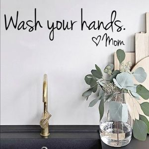Wash your hands love mom decal wall decor appliqué